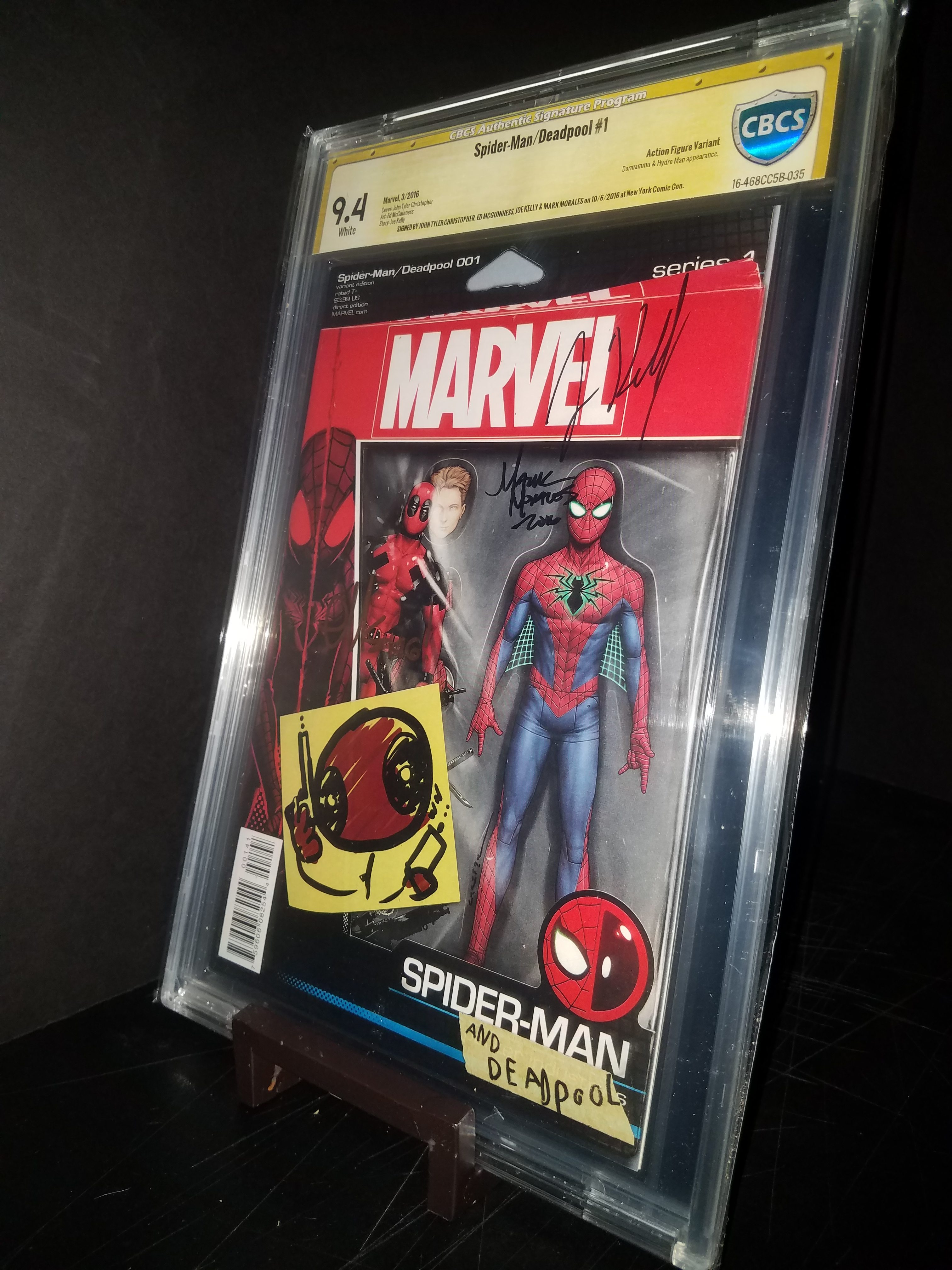Spiderman / Deadpool # 1 Action Figure Variant CBCS 9.4 4x Signed