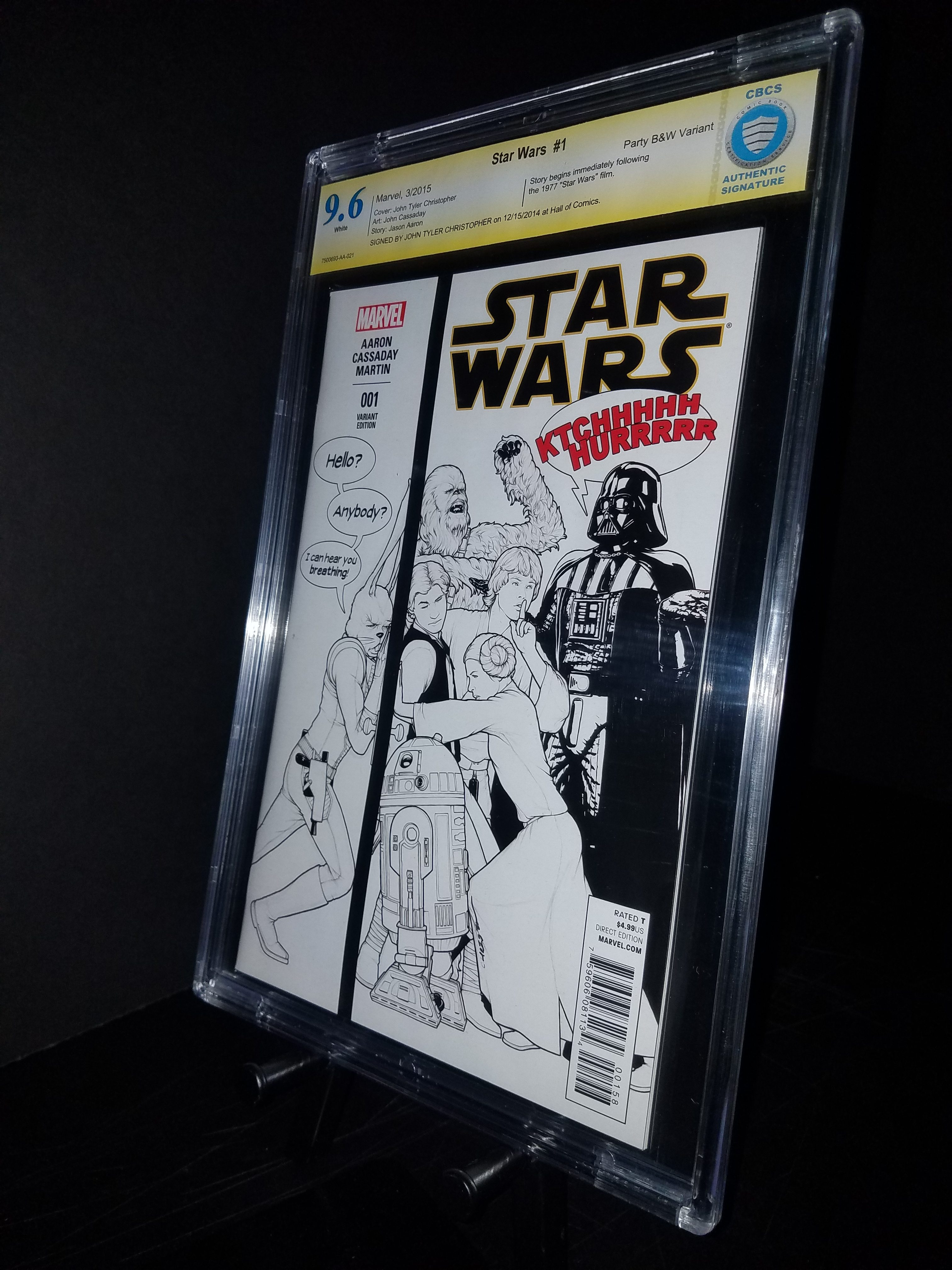 Star Wars # 1 CBCS 9.6 B&W Party Variant SS JTC