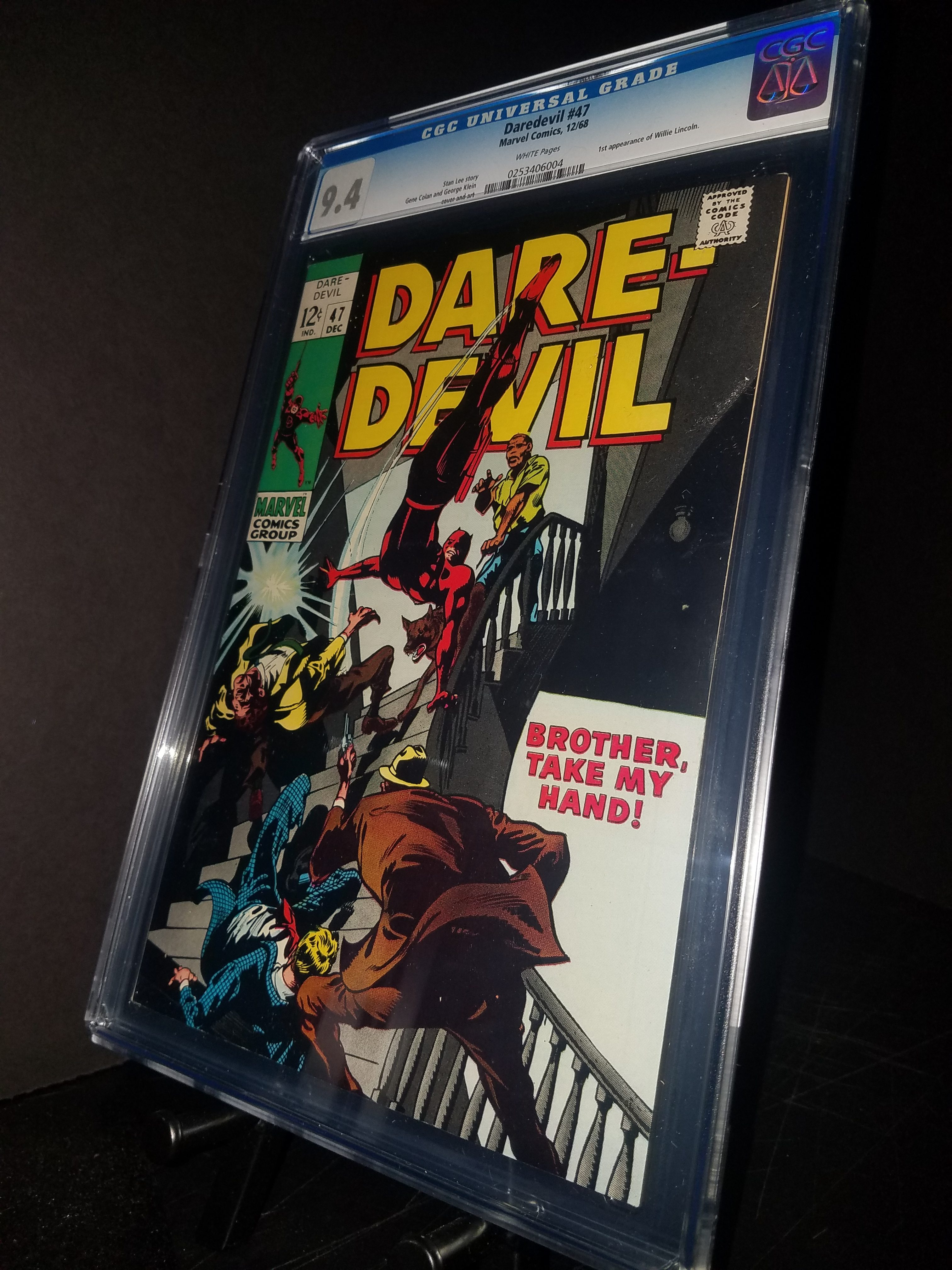 Daredevil # 47 CGC 9.4 WP 1st Willie Lincoln