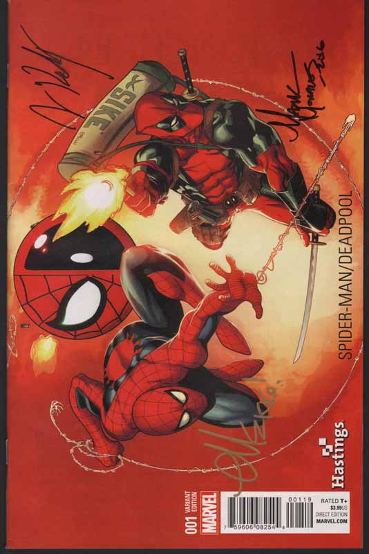 Spiderman / Deadpool # 1 3x Signed Hastings Variant