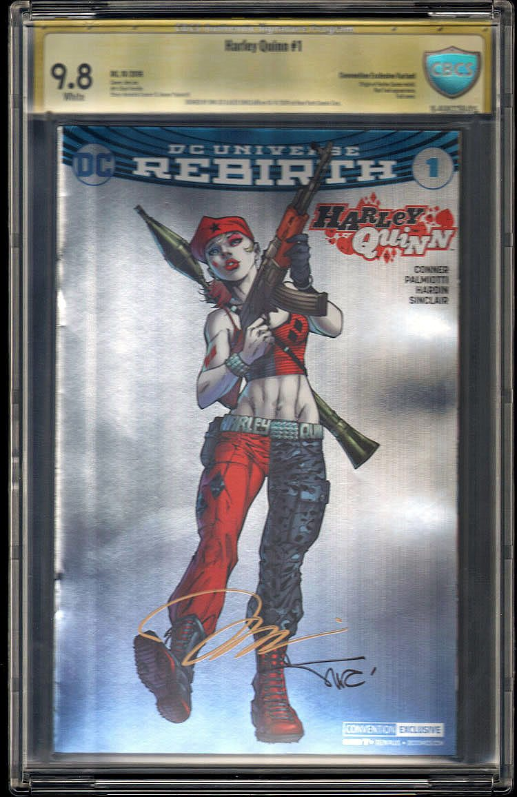 Harley Quinn # 1  CBCS 9.8 Convention Foil Variant Signed 2x